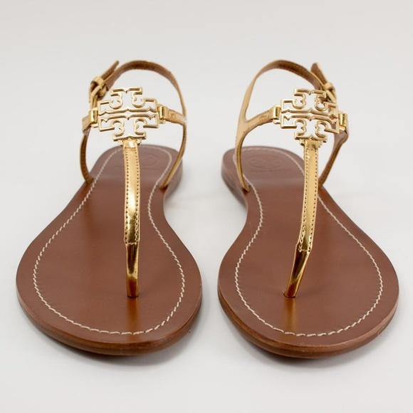 1233bd703aa Tory Burch Melinda Flat Gold Thong Sandals Size 9